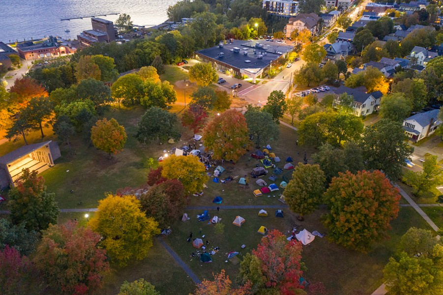The camp on Wednesday night from above - JAMES BUCK