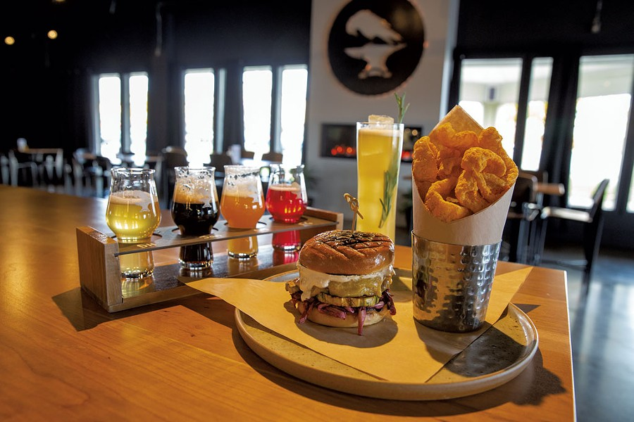 A beer flight, a Studio 54 cocktail and a house black bean burger with hot cheddar pork rinds at Black Flannel Brewing - JAMES BUCK