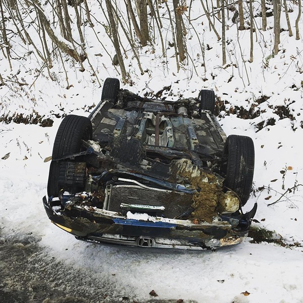 Sen. Ruth Hardy's totalled Honda Civic - COURTESY PHOTO