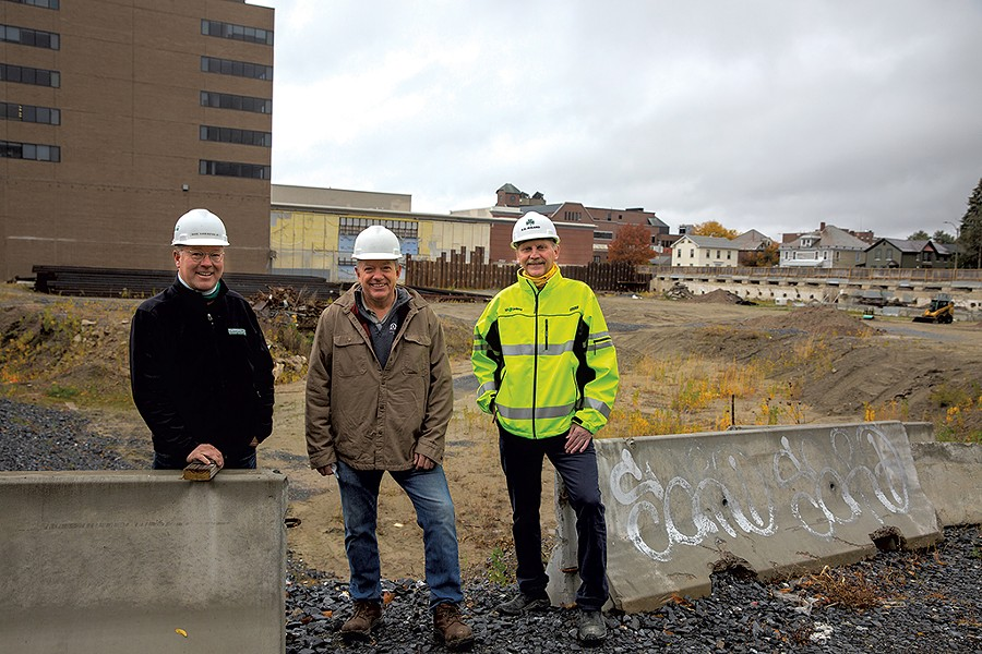 From left: Dave Farrington, Al Senecal and Scott Ireland at the CityPlace site in Burlington - JAMES BUCK