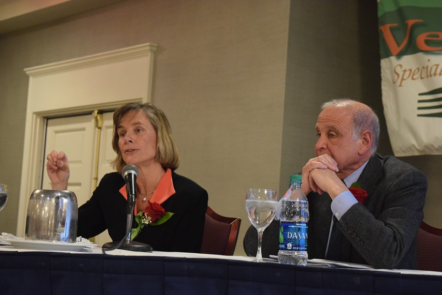 Former transportation secretary Sue Minter (left) and retired Wall Street executive Bruce Lisman at a forum for gubernatorial candidates. - TERRI HALLENBECK