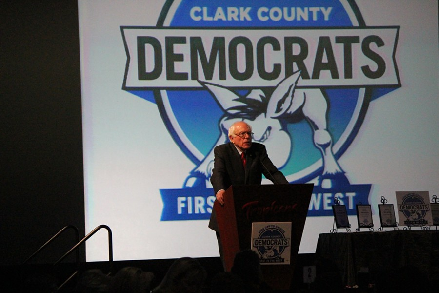 Sen. Bernie Sanders addresses Clark County Democrats Thursday in Las Vegas. - PAUL HEINTZ