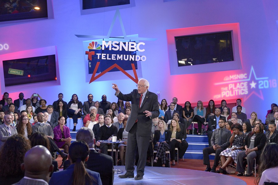Sen. Bernie Sanders speaking at the MSNBC and Telemundo forum - VIRGINIA SHERWOOD/MSNBC