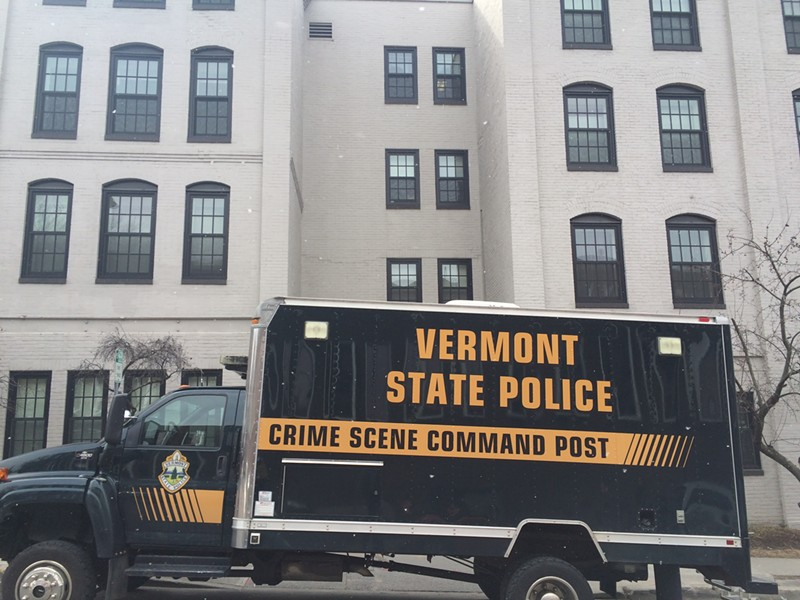 State police vehicle outside the shooting scene on Tuesday - MARK DAVIS
