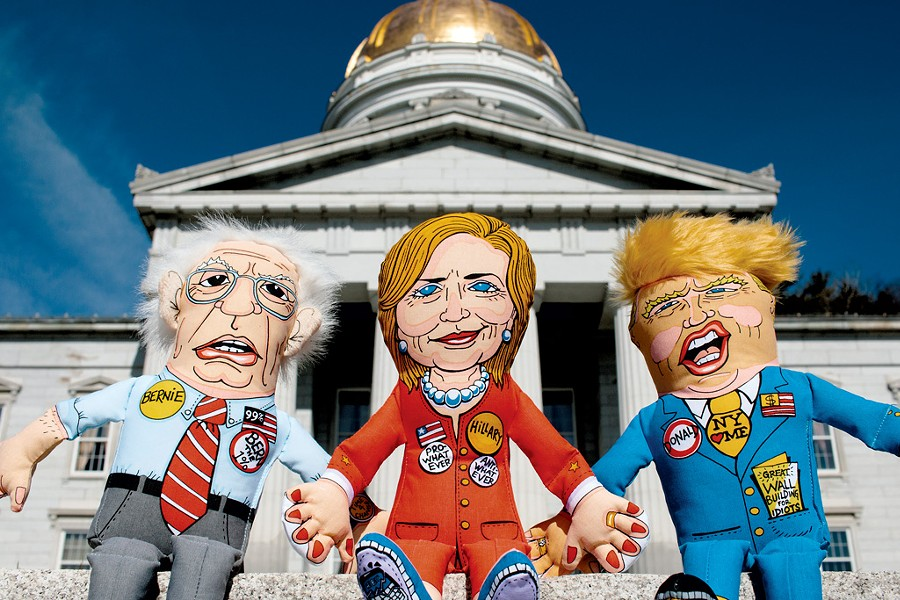 Fuzzu presidential-parody toys on the steps of the Vermont capitol building