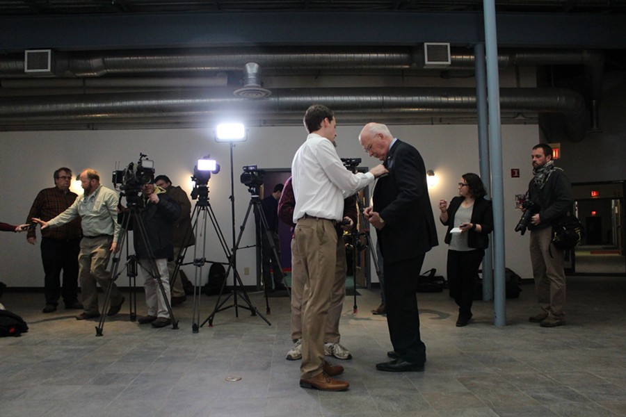 Sen. Patrick Leahy prepares for a Burlington press conference in February. - FILE: PAUL HEINTZ