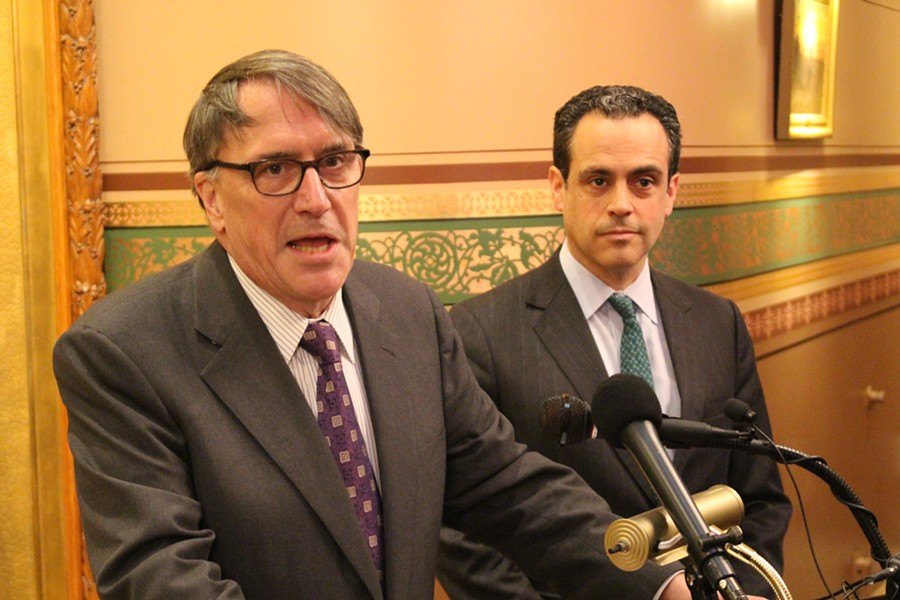 Peter Galbraith, left, last month with fellow gubernatorial candidate Matt Dunne - FILE: PAUL HEINTZ