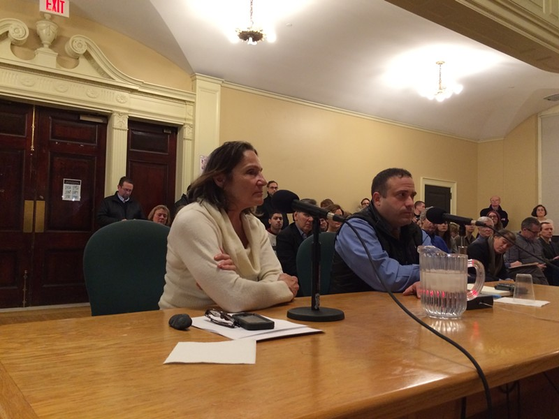 Stephanie Seguino and Burlington Police Chief Brandon del Pozo field councilors' questions about race data. - ALICIA FREESE