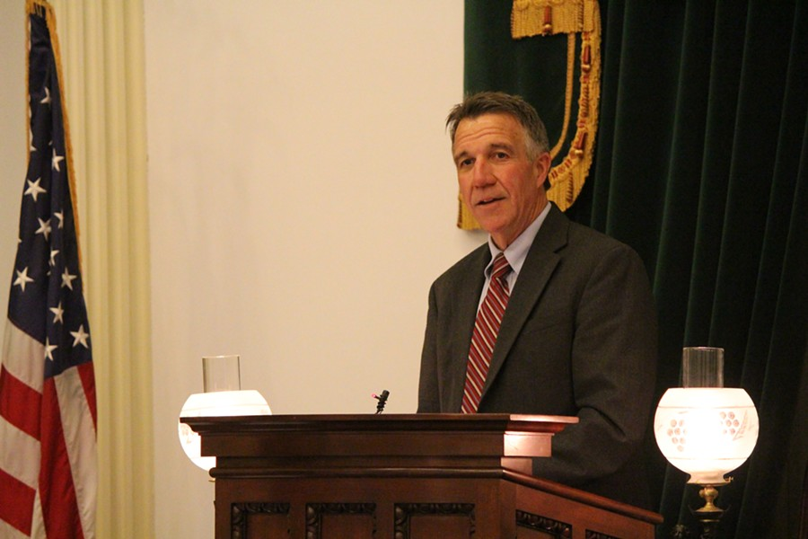 Lt. Gov. Phil Scott speaks Friday night at the Statehouse. - PAUL HEINTZ