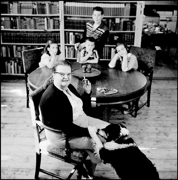 Shirley Jackson with her dog and four children in 1956 - COURTESY OF BARRY HYMAN