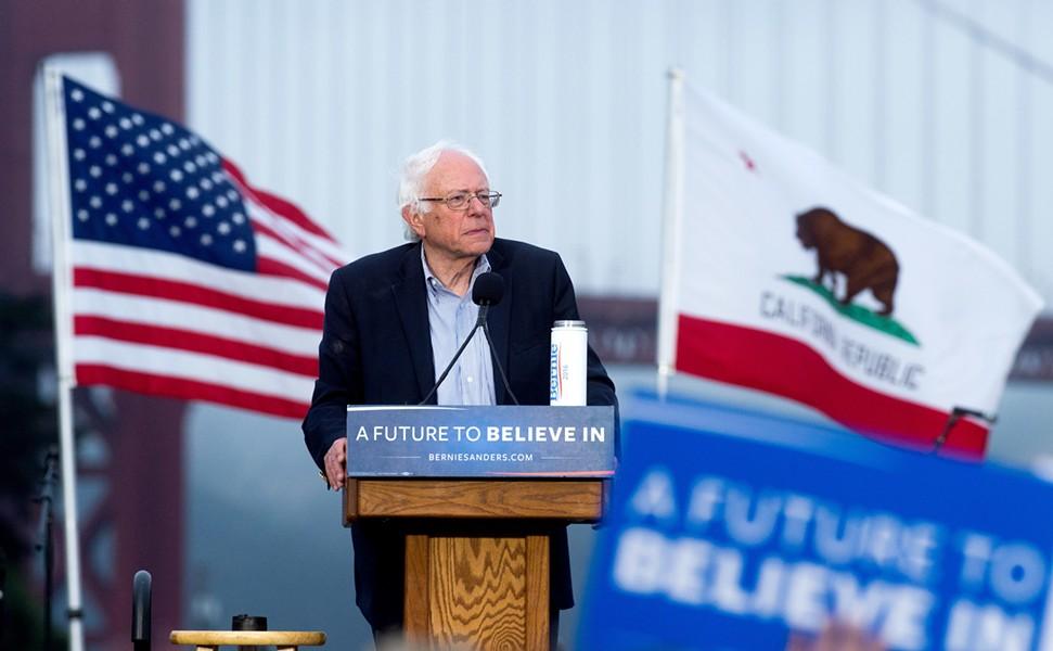 Sen. Bernie Sanders speaks Monday night in San Francisco. - AP PHOTO/NOAH BERGER
