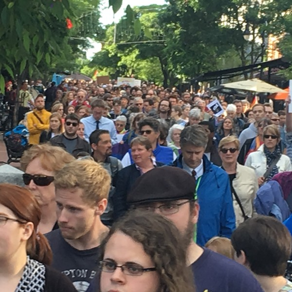 Crowds fill Church Street for the Orlando vigil. - MATTHEW THORSEN