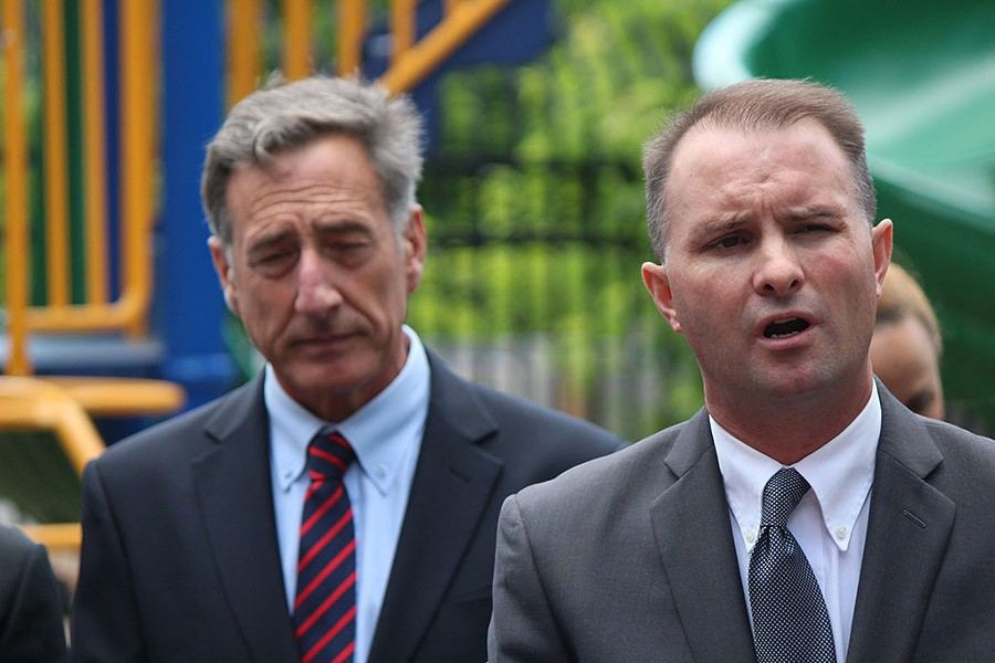 Gov. Peter Shumlin, left, and Chittenden County State's Attorney at a press conference Monday at the King Street Center - PAUL HEINTZ