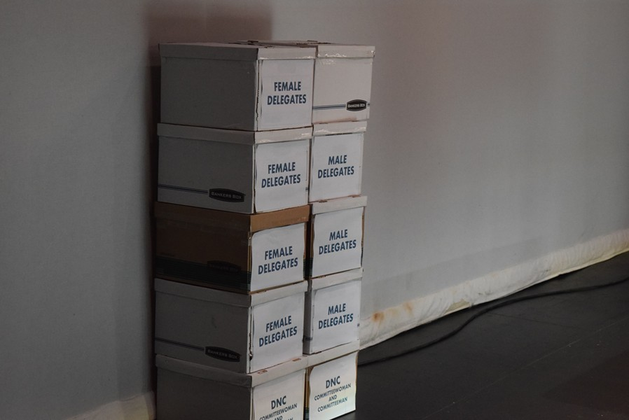 Boxes of votes at the state Democratic convention in May - TERRI HALLENBECK