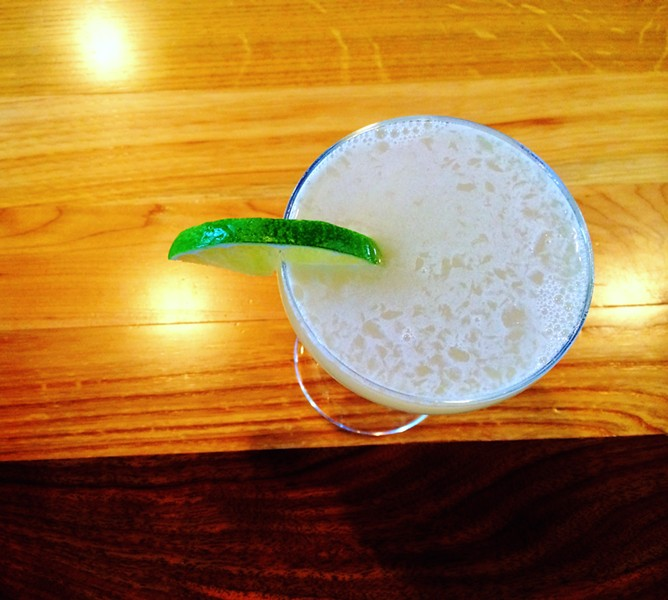The Barr Hill Gin Gimlet at American Flatbread, Middlebury Hearth - JULIA CLANCY