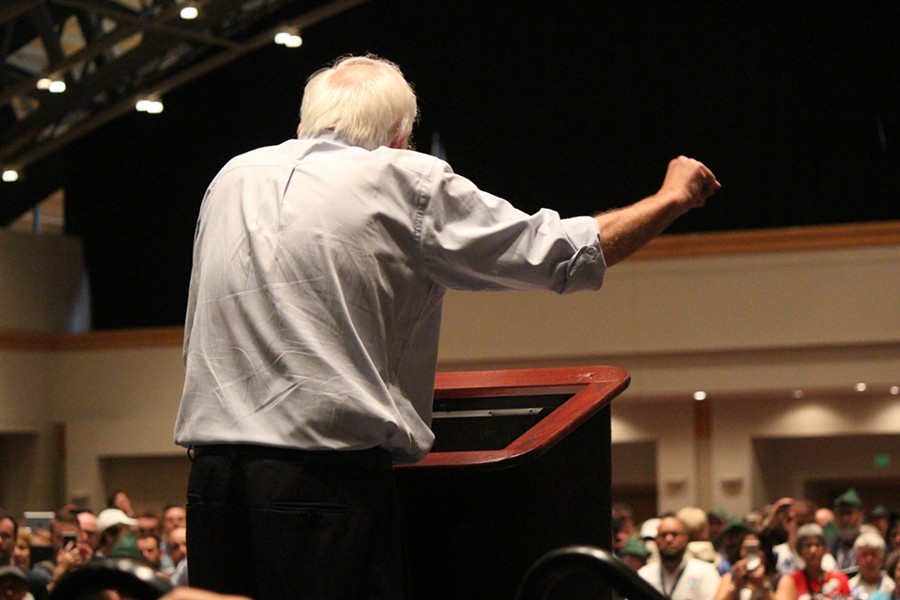 Sen. Bernie Sanders addresses delegates Monday at the Pennsylvania Convention Center. - PAUL HEINTZ