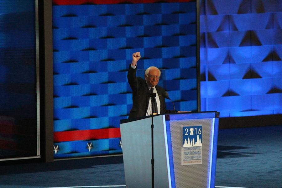 Sen. Bernie Sanders addresses the Democratic National Convention Monday night in Philadelphia. - PAUL HEINTZ
