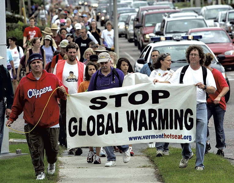 Protesters participating in a walk along Route 7 in South Burlington, September 4, 2006 - ASSOCIATED PRESS/ALDEN PELLETT