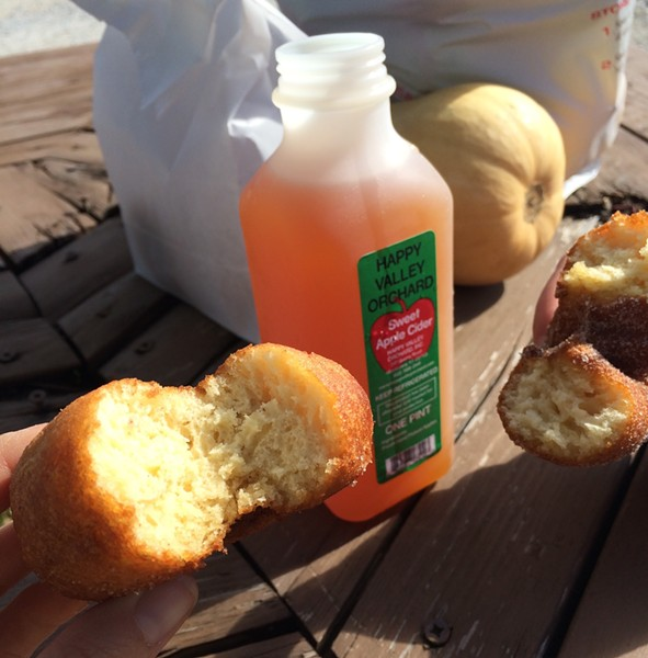 Cider and cider donuts at Happy Valley Orchard - JULIA CLANCY
