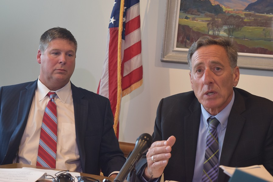 Gov. Peter Shumlin (right) and Green Mountain Care Board chair Al Gobeille discussing an all-payer waiver system for reimbursing health care providers. - TERRI HALLENBECK