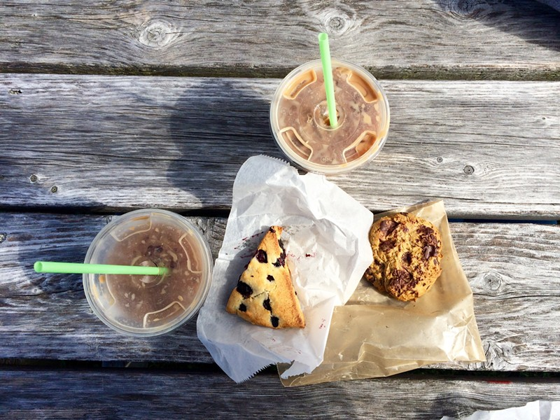 Iced maple mochas, blueberry scone and pumpkin-chocolate chip cookie at Blank Page Café - JULIA CLANCY