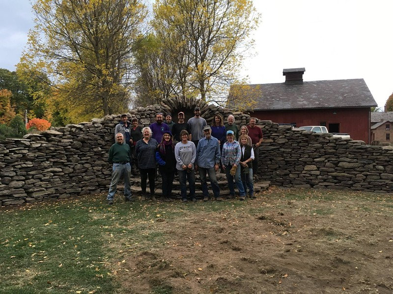 Gardener's Supply students with finished wall - COURTESY OF PAT PEARSALL