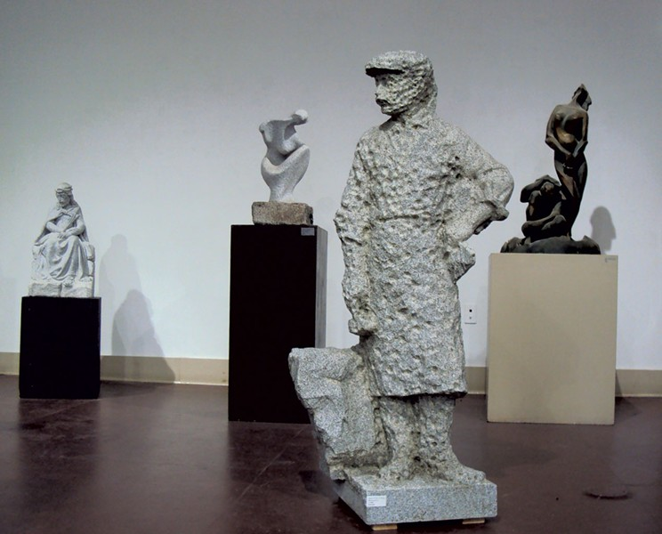 """Stone Cutter a Punto"" (foreground) by Giuliano Cecchinelli - COURTESY OF STUDIO PLACE ARTS"
