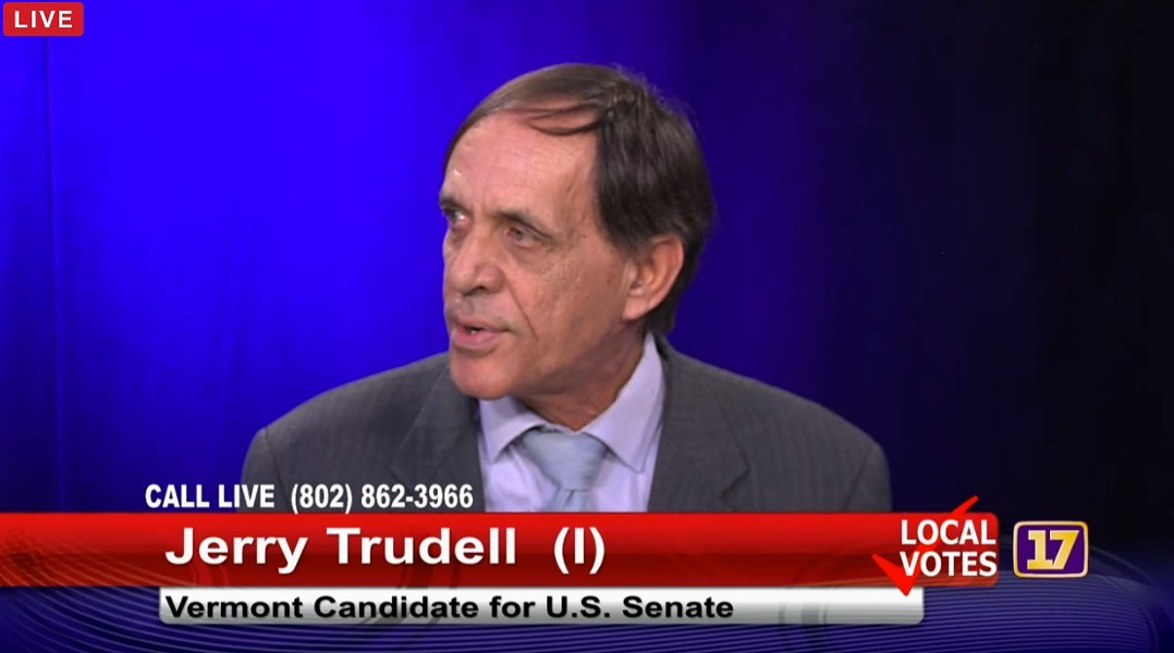 Jerry Trudell at a Channel 17 debate Tuesday in Burlington - SCREENSHOT