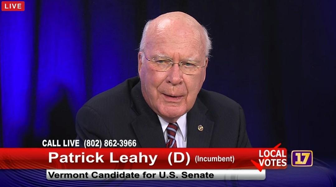 Sen. Patrick Leahy at a Channel 17 debate Tuesday in Burlington - SCREENSHOT