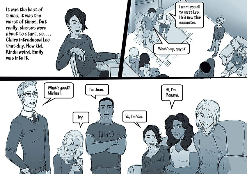 A comic panel from the Make a Change game - COURTESY OF CHAMPLAIN COLLEGE