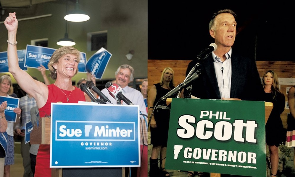 Sue Minter and Phil Scott - FILE: JAMES BUCK/MOLLY WALSH