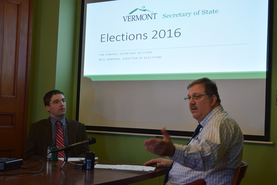 Secretary of State Jim Condos (right) and Director of Elections Will Senning talk Tuesday about next week's elections. - TERRI HALLENBECK/SEVEN DAYS