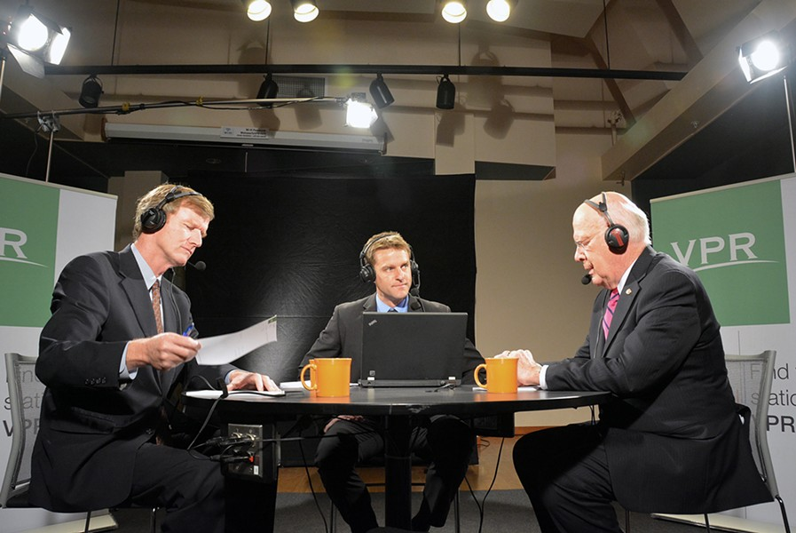Scott Milne, Peter Hirschfeld and Sen. Patrick Leahy prepared for a Vermont Public Radio debate Wednesday in Colchester. - ANGELA EVANCIE, COURTESY OF VPR