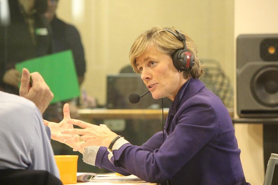 Sue Minter debates Thursday evening at VPR's Colchester studios. - PAUL HEINTZ