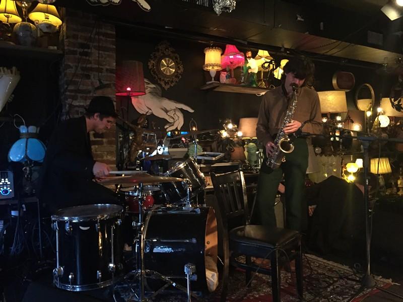Andrew Cliff on drums, Brendan Fay on saxophone - JORDAN ADAMS