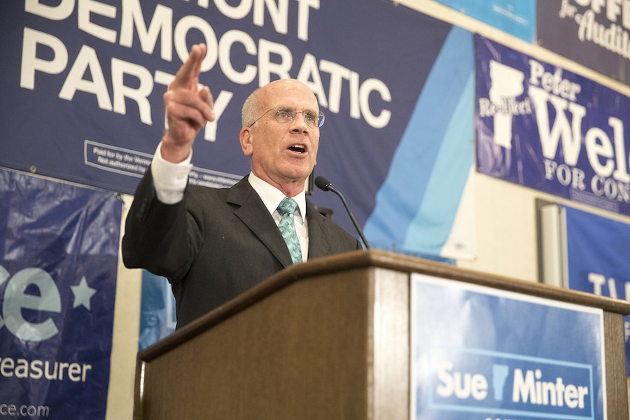 Rep. Peter Welch gives his victory speech. - JAMES BUCK
