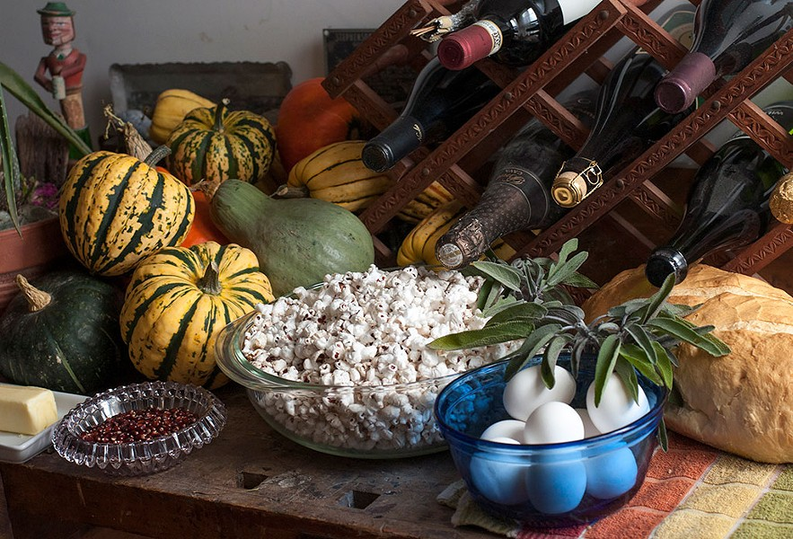 Winter squash, popcorn and fixings for bread pudding - HANNAH PALMER EGAN
