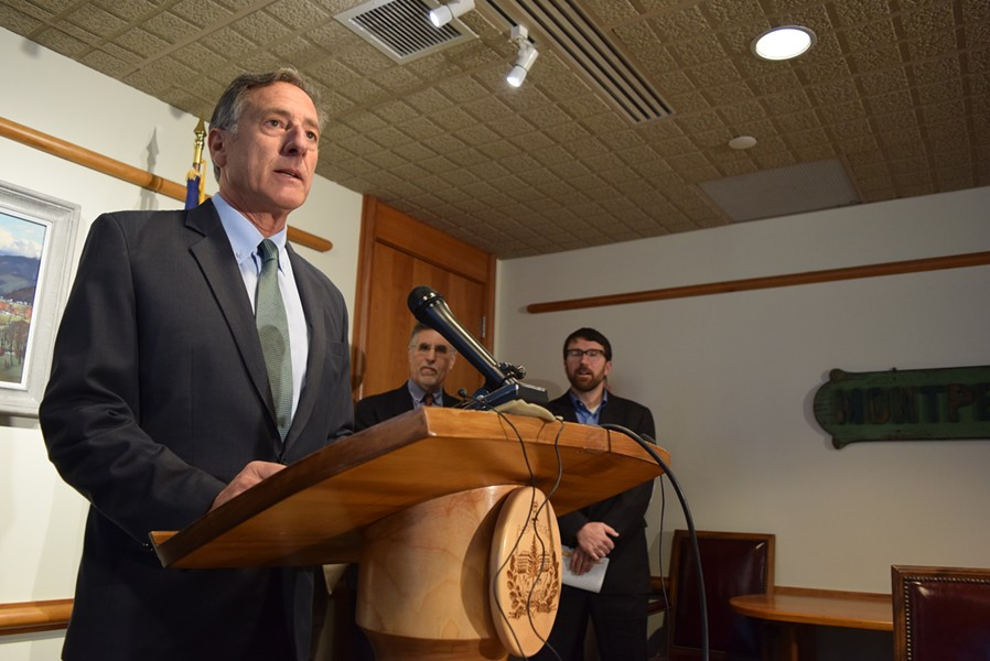 Gov. Peter Shumlin speaking Tuesday - TERRI HALLENBECK