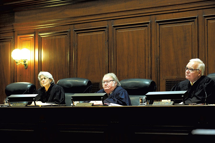 Left to right: Justices Beth Robinson, John Dooley and Harold Eaton Jr. - MATTHEW THORSEN