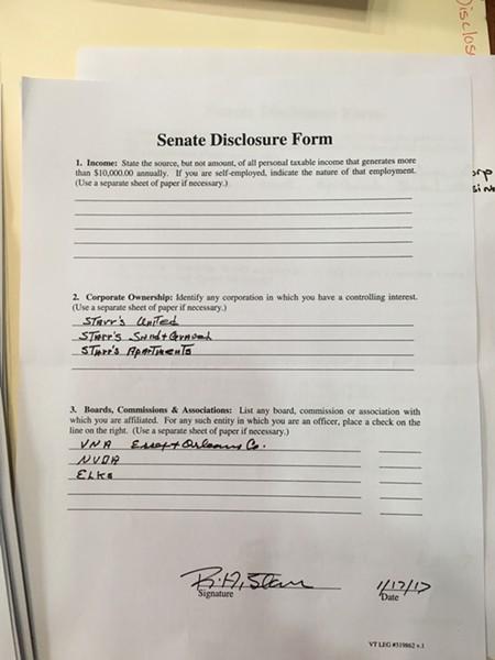 Sen. Bobby Starr's financial disclosure form. - JOHN WALTERS