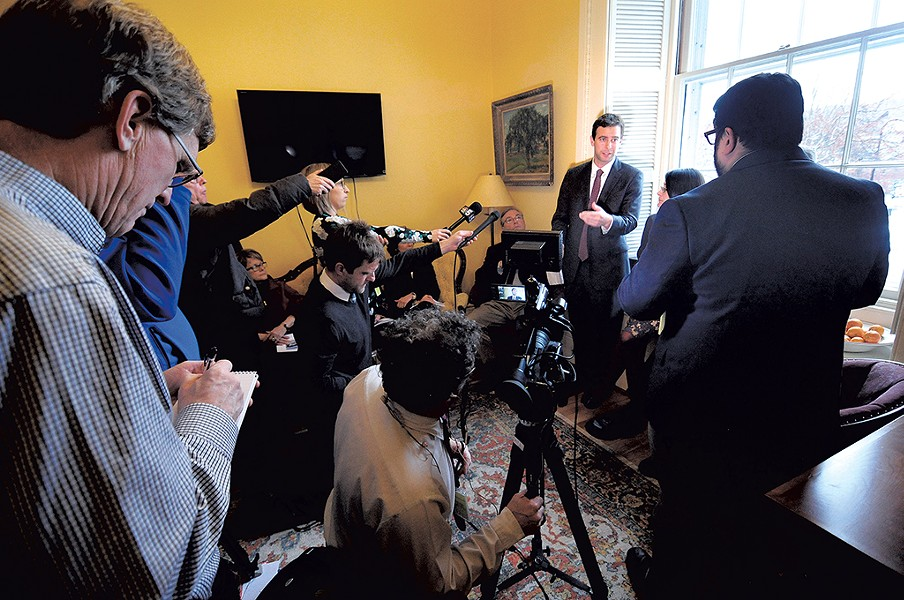 Tim Ashe speaking to reporters - MATTHEW THORSEN