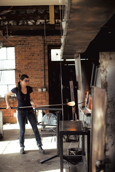 Alissa Faber blowing glass - PHOTOS COURTESY OF KELLY DUDASH