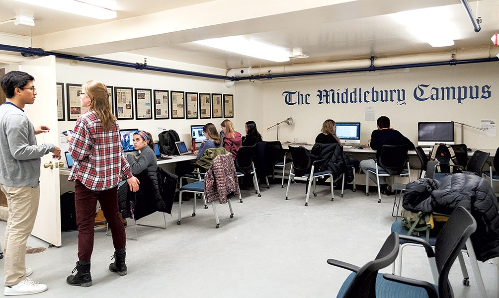 Student journalists working on an issue of the Campus - H.B. WILCOX