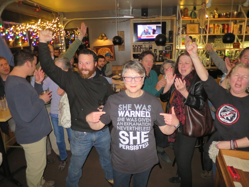 Jane Knodell celebrates her 2017 Town Meeting Day victory. - MATTHEW THORSEN