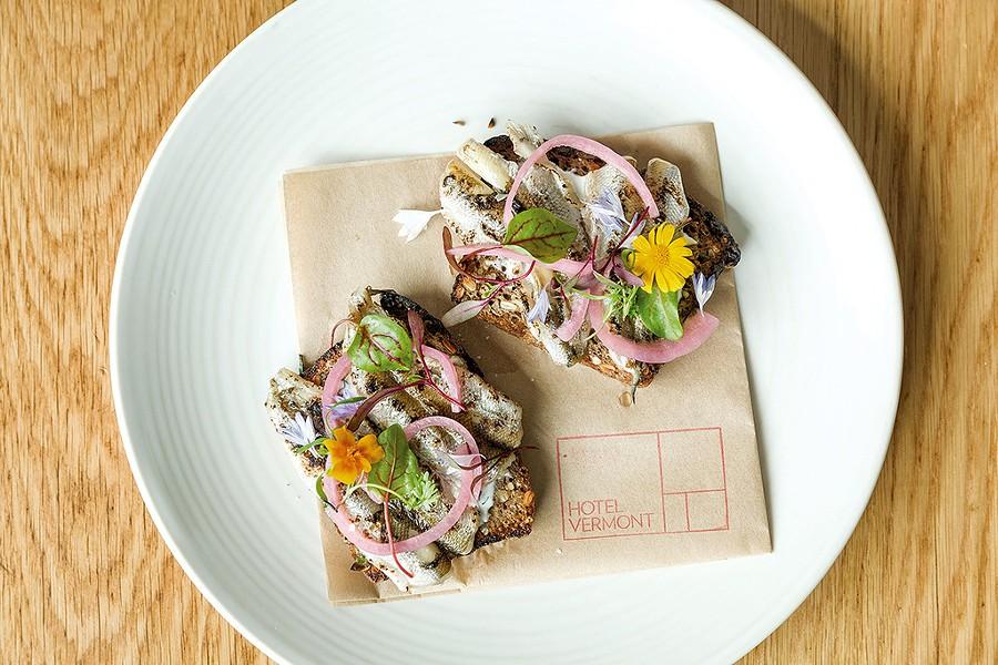 Pickled smelt, quark and aquavit on Red Hen sprouternickel - OLIVER PARINI