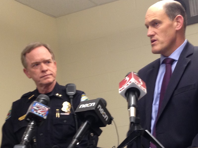 South Burlington Police Chief Trevor Whipple (left) and South Burlington Schools Superintendent David Young at Friday's press conference. - MOLLY WALSH