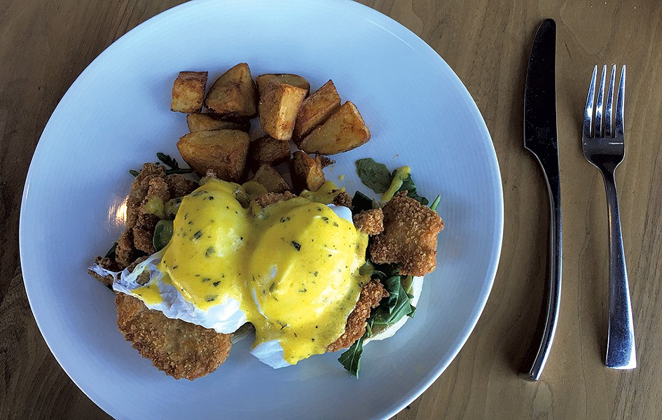 Fried-oyster Benedict at Bleu Northeast Seafood - PAMELA POLSTON
