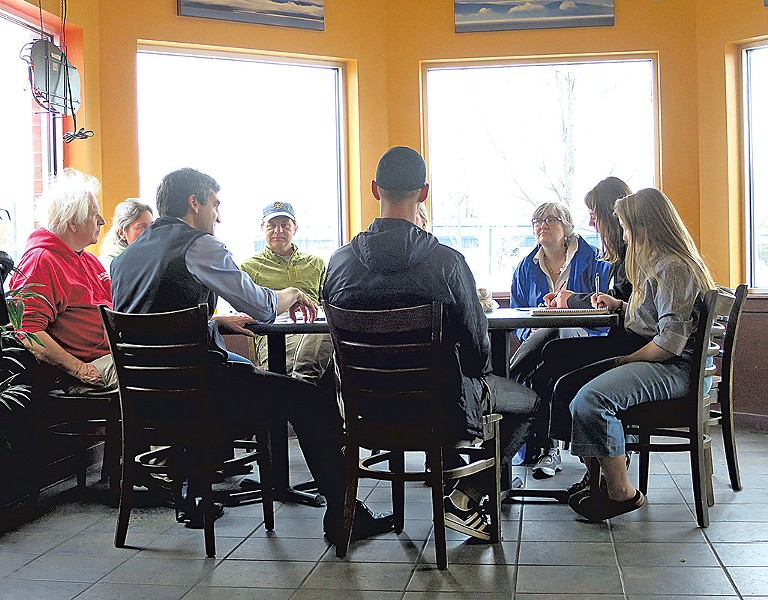 Miro Weinberger meeting with constituents at the Bagel Café & Deli - MATTHEW THORSEN