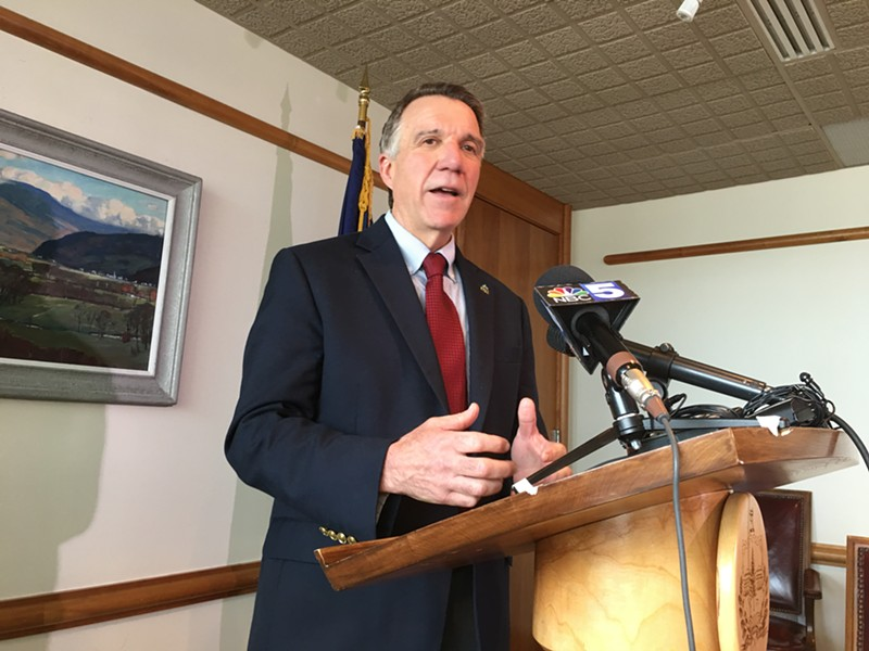Governor Phil Scott at his Friday press conference - JOHN WALTERS