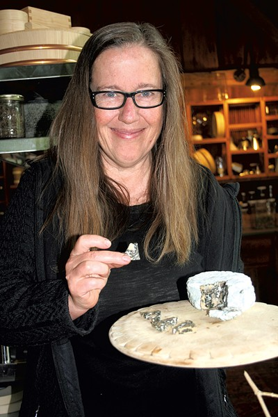Melissa Hoffman with her nut-milk cheese - SUZANNE PODHAIZER